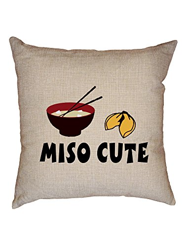 Hollywood Thread Miso Cute - Asian Me So Cute - Soup & Fortune Cookie Decorative Linen Throw Cushion Pillow Case with Insert