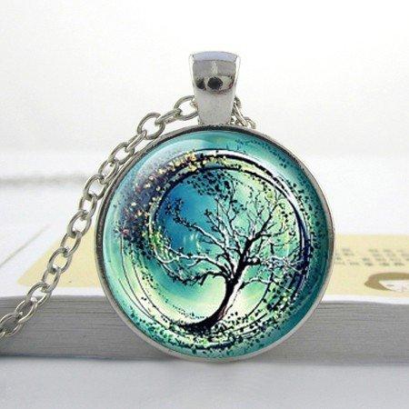 Collar con colgante de árbol divergente de cristal de tsunami, regalo para amigos, collar de artesanía