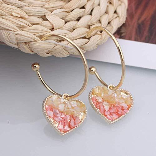 LILAODA Pendientes Ohrring Goldfarbene Herz Kristall Creolen für Frauen Ohrringe Unregelmäßiger Schmuck Mädchen Ohrring Perfect