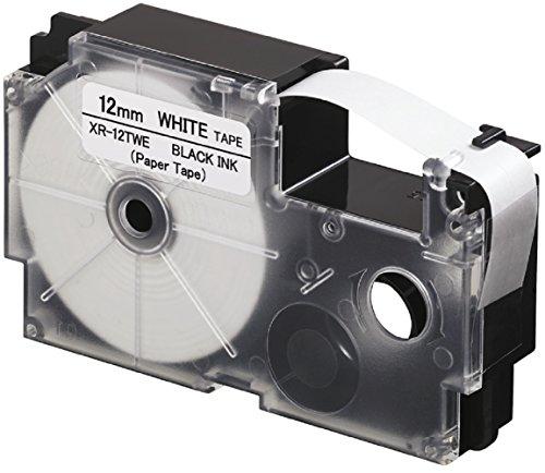 Casio XR-12TWE EZ-Label Printer 12 mm Schriftband aus Papier selbsthaftend für den Indoor-Einsatz schwarz