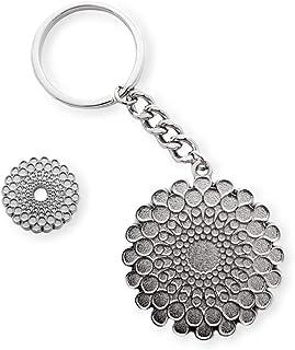 Expo 2020 Dubai Symbol Pin and Symbol Keyring Silver Pack of 2