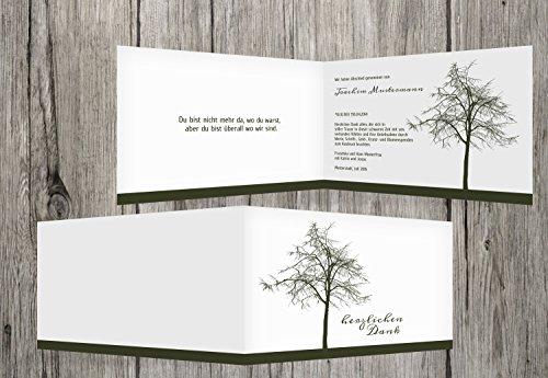 trauerkarten-druck | Danksagung Beerdigung | Danksagung Trauer Tree | 10 Karten | mit Individualisierung & Umschlägen | in dunklesGrün