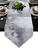 Advancey Burlap Table Runner for Dining Dresser Table Decorations White and Gray Wall with Cracks and Bricks Table Runners for Holiday Family Gathering Dinner - 13x120 inch