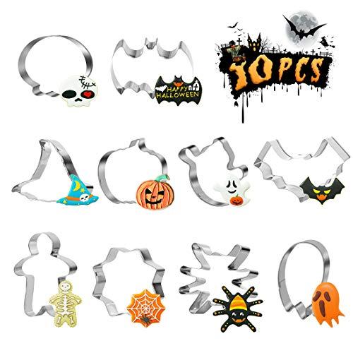 Halloween Moldes Para Galletas, 10 Piezas Halloween Molde Galletas, Acero Inoxidable Moldes Galletas Fondant Halloween, Fantasma, Murciélago, Calabaza, Sombrero de Bruja