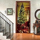 XKSJWY Puerta Pegatinas Murales Regalo del Árbol De Navidad Foto 3D Door Stickers Wallpaper Extraíble Papel Pintado Autoadhesivo Impermeable Vinilos Papel Tapiz Poster DIY Art Decorativas 90X200Cm
