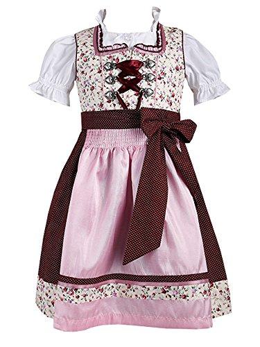 Krüger Kids Kinderdirndl 44651 beige Blümchen rosa rot inklusive Dirndlbluse (152)