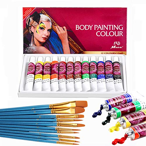 Face Paint Kit,12 Colors Professional Face Painting Tubes, Non-Toxic & Hypoallergenic Body Paint Halloween Makeup, Rich Pigment, Face Painting Kits (Great for Adult)