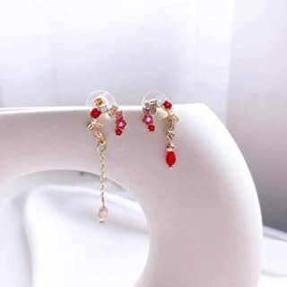 Erin Earring Sweet Wedding Simulation Bride's Pearl Dangle Earrings Crystal Long Fashion Golden Jewelry Irregular Flower P...