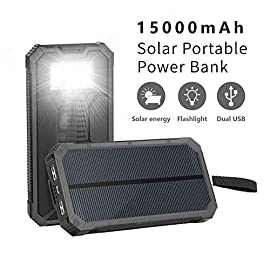 Solar Charger,Elzle Outdoor Portable Power Bank, Solar Power Bank with Solar Chargers, Solar Phone Charger, Fast Charge External Battery Pack with Compatible for Smartphones Tablet Camera 2 <p>Huge Capacity: Built-in rechargeable 15000mAh battery can charge iPhone 5S(4.7 times), iPhone 7(3.8 times), Galaxy S6(2.8 Times); The Phone charger is ideal choice for hiking, camping trips or other outdoor activities. Dual USB Fast Charge Outputs: Built-in 5V/1A and 5V/2.1A USB Output allow you to fast charge two devices simultaneously, work with all iphone/iPad/Tablets, or other cellphones and electronic devices. 4 LED Indicators & 6 LED Flashlight: Integrated 4 LED indicators to show power status, 6 LED flashlight lighten your night when going for an outdoor camping. Solid & Portable Design: The out case is made from durable ABS + PC material, shock proof and dust resistant. At the same time, with a compact size, you can easy to hold in hand and carry. Perfect for outdoor activities. What You Get: Elzle 15000mAh Portable Solar Charger, Micro USB cable, User manual, Carabiner; 18-Months Warranty - Friendly Customer Service within 24 hours.</p>