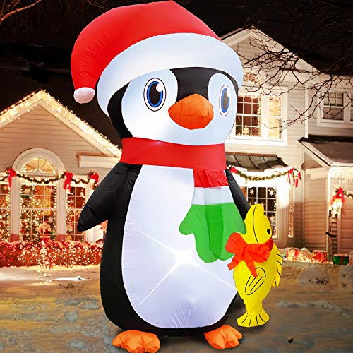 TURNMEON 6 Foot Christmas Inflatables Penguin with Fish, Inflatable Outdoor Christmas Decorations for Indoor Outdoor Yard Lawn Xmas Decoration