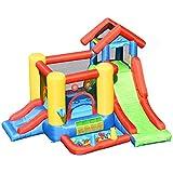 Costway 7 en 1 Château Gonflable pour Enfants avec Toboggan,30 Ballons 300x360x235CM pour 5 Enfants Plus de 3 Ans Capacité Max.135KG