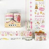 6手帳と紙テープセットに巻き込まれました。塩系少女ハートピンクの桜ガールdiyシールが飾られています。