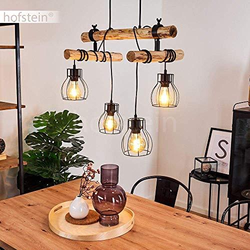 Hängeleuchte Gondo, Vintage Hängelampe aus Metall in schwarz und Holz, 4-flammig, 4 x E27 max. 60 Watt, Höhe max. 158 cm (verstellbar), Leuchtenköpfe sind individuell einstellbar