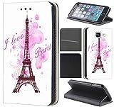 KX-Mobile Hülle für iPhone 6 / 6s Handyhülle Motiv 1078 Eifelturm Paris Frankreich Rosa Pink Premium aus Kunstleder Beidseitig Bedruckt HandyCover Handyhülle für iPhone 6 / 6s Hülle