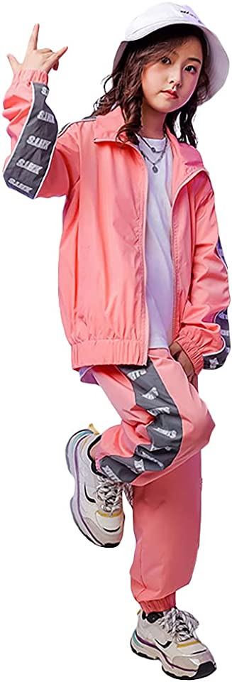 3-teiliges Hip-Hop-Kleidungsset für Mädchen, Street-Dance-Outfit für Kinder, kurzes Trägershirt, Fluoreszierende grüne Jacke und Joggerhose