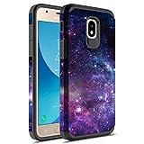 Samsung Galaxy J7 V 2nd Gen/J7 Refine/J7 Top/J7 Star/J7 Aura/7 Crown/J7 2018 Case w/Tempered Glass Screen Protector, Rosebono Fashion Hybrid Graphic Colorful Armor Case for SM-J737 (Stardust)