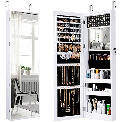 LANGRIA Jewelry Cabinet Organizer with Full Length Mirror, 10 LEDs Lockable Jewelry Armoire with Spacious Storage, Wall Mounted or Door Hanging, White