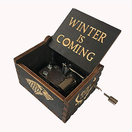 MINGZE Manovella in Legno Music Box meccanismo, varietà di Stili Carillon Creativo Personalizable, Best Gift for Kids Friends (Game of Thrones(Black))