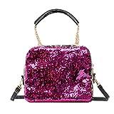 Bolso bandolera de mujer pequeño con cadena salvaje color sólido bolsa de cubo, color Negro, talla Small