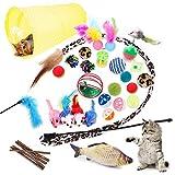 28 Piezas Juguetes para Gatos, Juguete Interactivo con Plumas para Gatos, Ratóns y Bolas Varias para Gatos, Juguetes para Gatos con Plumas túnel
