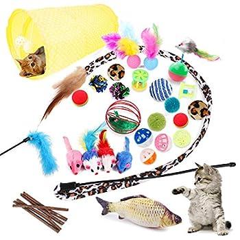 Jouets Chat 28 Pièces Jouet Chat Jouet à Plumes pour Chat Jouet Chaton et Kitty avec Plumes, Tunnel, Balles, Chat, Souris, Cloches et Divers Balles