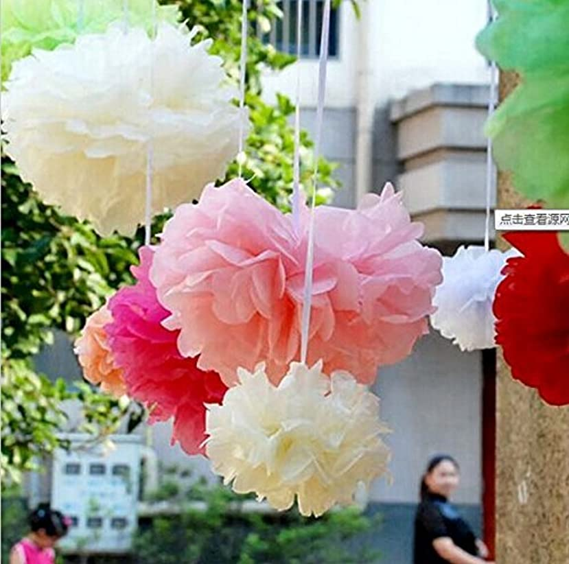 Krismile? New Coming 12PCS Mixed Sizes Cream Ivory Tissue Paper Flower Pom Poms Pompoms Paper Ball Wedding Birthday Party Nursery Decoration