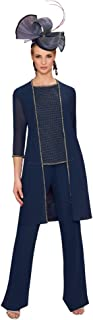 Women's 3 Piece Mother of the Bride Pant Suits Beads Wedding Guest Dresses With Jacket