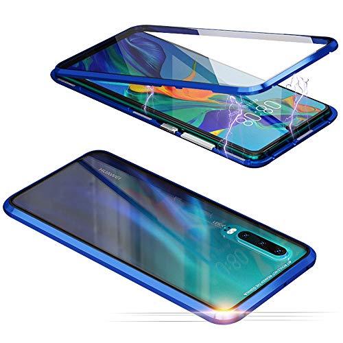 Jonwelsy Funda para Huawei P20 Pro, Adsorción Magnética Parachoques de Metal con 360 Grados Protección Case Cover Transparente Ambos Lados Vidrio Templado Cubierta para Huawei P20 Pro