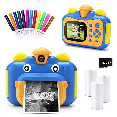 INKPOT Instant Print Camera for Kids,Zero Ink 1080p Video Kids Digital 12MP Selfie Camera for Girls Boys,Birthday Gift Photo Instant Camera for Kids Age 7 8 9 10 11-Color Pens,Print Papers,32GB Card