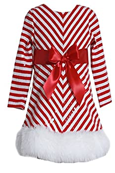 Bonnie Jean Girls Sequins Holiday Christmas Santa Dress Red  4 Toddler