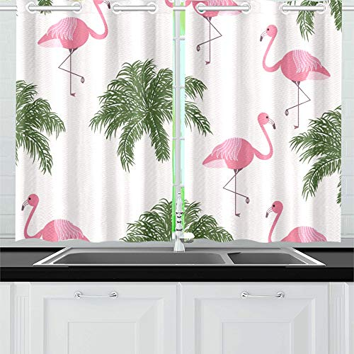 ENEVOTX Tropical Trendy Pink Flamingos Kitchen Curtains Window Curtain Tiers for Café, Bath, Laundry, Living Room Bedroom 26 X 39 Inch 2 Pieces