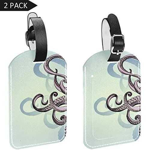 LORVIES Octopus Tentacles Tekening Bagage Tags Reizen Labels Tag Naam Kaarthouder voor Bagage Koffer Tas Rugzakken, 2 PCS