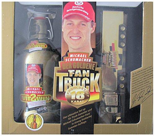 Altenmünster - Schumacher Fan Set - 0,5 l. Bier ( MHD abgelaufen ) & vergoldeter Fan Truck - Freightliner - US Sattelzug