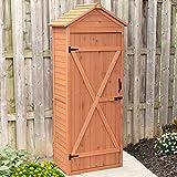 Leisure Season VSD9381 Vertical Shed with Drop Table - Brown - Wooden Tool Storage Cabinet with Shelves - Lockable House, Garden, Patio, Backyard Organizer - Outdoor Hardware Enclosure Unit - Cedar