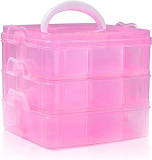 SacJkt Boite De Rangement En Plastique Avec Poignée, Box De Rangement, 3 Couches 18 Compartiments Boîte De Rangement Détac...