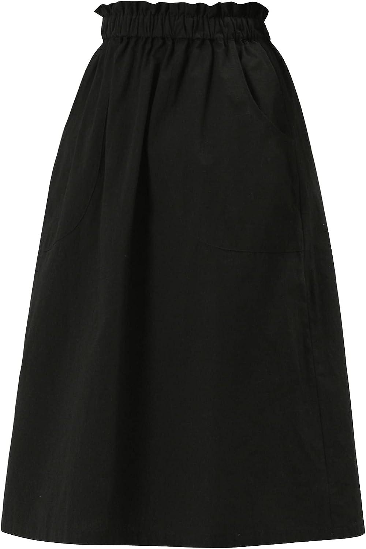Allegra K Women's Peasant Vintage Elastic Waist Cotton Skirt A-Line Midi Scrub Skirts with Pockets