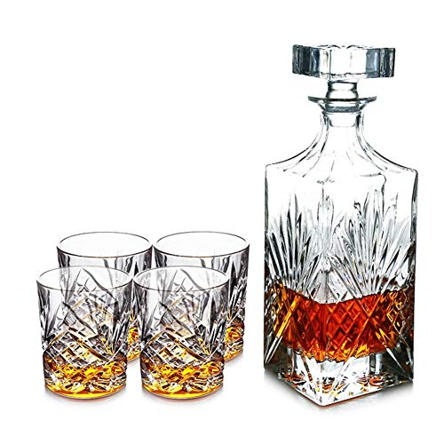 AP.DISHU 5-delige Whiskey Decanter en glazen set, 100% loodvrije Crystal Bar Set met 4 Whiskey brillen, verpakt in een mooie geschenkdoos