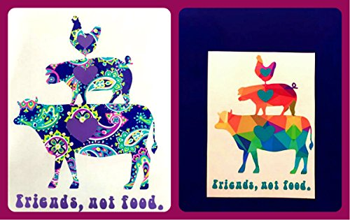 Friends Not Food Farm Animals Vinyl Decal Sticker Die Cut - FREE SHIPPING - Custom Car Window Laptop Tumbler Water Bottle Bumper - You Choose Size and Color