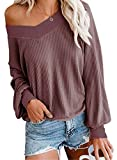 UGET Women's V Neck Long Sleeve Waffle Knit Top Off Shoulder Pullover Slouchy Sweater Large Rust Red