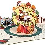 PaperCrush® - Biglietto pop-up per bambini con circo [Novità] – Divertente biglietto di auguri 3D per ragazze e ragazzi, biglietto di auguri di compleanno per bambini