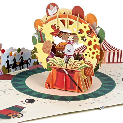 PaperCrush® Pop-Up Karte Kinder Zirkus [NEU!] - Lustige 3D Geburtstagskarte für Mädchen und Jungen, Glückwunschkarte zum Kindergeburtstag, Geschenkkarte oder Mitbringsel zum Geburtstag von Kind