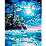 TOY-R Cuadro para Pintar DIY Pintura Al óleo Digital Faro Paisaje Pintura Acrílica para Adultos Set 40 * 50 con Pincel Decoración Familiar Sin Marco