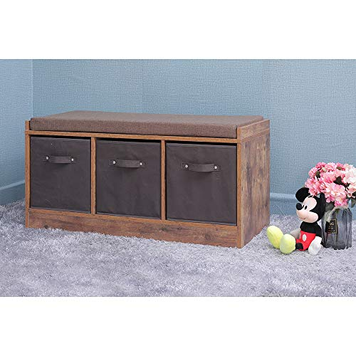 IWELL-Rustic-Storage-Bench-with-3-Removable-Drawers-Entryway-Bench-Storage-Bench-with-Removable-Cushion-Perfect-for-Under-Window-Hallway-mudroom-Living-Room-HXD001F