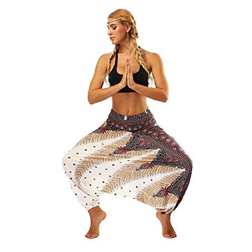 URIBAKY - Pantalones de Yoga para Mujer, Estilo Informal, de Verano Blanco 32 ES/S
