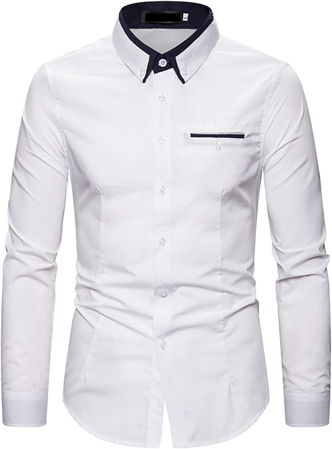 Men's Casual Dress Shirt Button Down Business Work Shirt Casual Fashion Slim Fit Long Sleeve Patchwork Tops