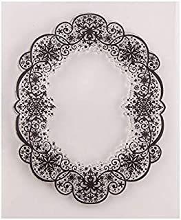 Welcome to Joyful Home 1pc Oval Frame Background Clear Stamp for Card Making Decoration and Scrapbooking