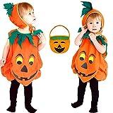 WQLP Disfraz De Calabaza De Halloween para Niños, Traje De Cosplay, Sombrero, Fiesta Escolar, Ropa para Niños, Fiesta De Disfraces De Halloween, Cesta De Calabaza (Naranja)