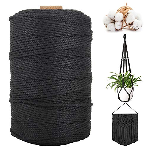 Macrame Cord 3MM 220YD/300M Cotton Rope 100% Natural Cotton Macrame Rope, 4 Strands Twisted Twine String Cotton Cord Macrame for Wall Hanging Plant Hanger Dream Catcher DIY Crafts Knitting Boho Decor