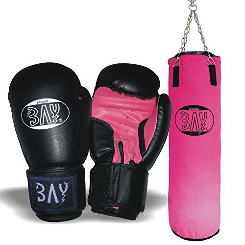 BAY® Boxset PINK Sandsack+Boxhandschuhe Future schwarz/pink (6 Unzen)