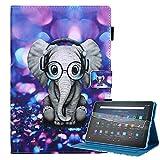 Billionn Funda para Kindle Fire HD 10 y HD 10 Plus Tablet (11ª generación, 2021) + protector de pantalla, con función de despertador/sueño, elefante